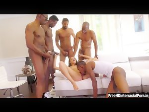 Teen Avi Love Pussy destroyed by gang of big black cocks