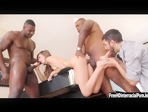 Riley Reid cuckold husband with two big black cock