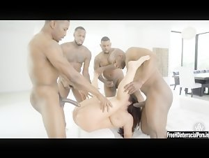 BBW Milf Angela White interracial gangbang with BBC