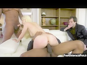 PAWG Lana Sharapova Cuckold husband with two big black cock