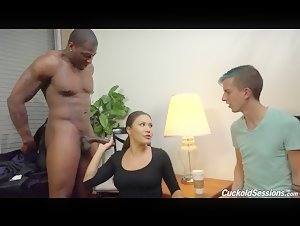 PAWG Mena Mason cuckold husband with huge Black dick
