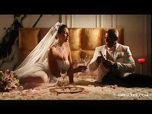 PAWG Kira Queen interracial wedding with Big Black dick