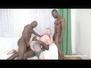Big ass Proxy Paige getting dominated by three Black dick